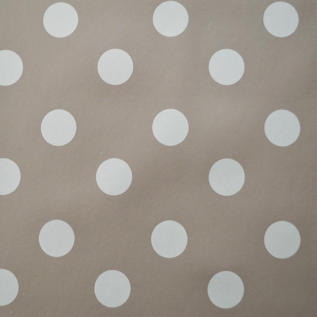 Beige Polka Dot Vinyl Table Cover