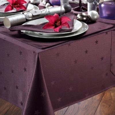 Purple Star Christmas Tablecloth