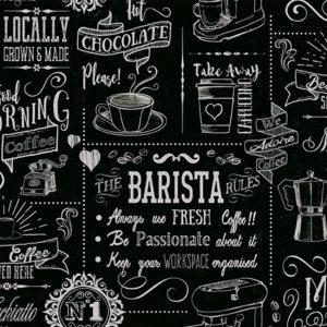 Barista Vinyl Tablecloth Pattern