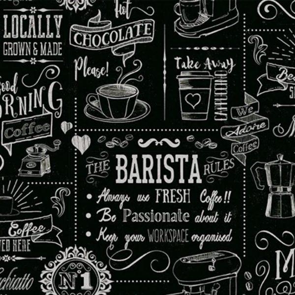 Barista Vinyl Tablecloth Pattern